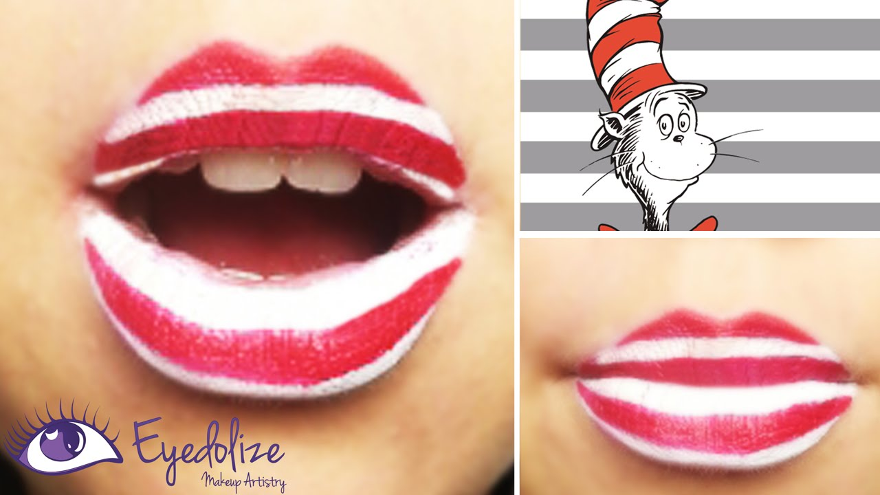 EASY Dr. Seuss Cat In The Hat Lipstick Tutorial by EyedolizeMakeup - YouTube
