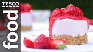 How To Make Vanilla And Strawberry Cheesecakes | Tesco Food