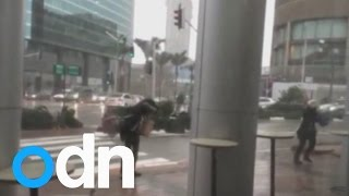 WATCH: Woman gets blown away in a storm in Israel