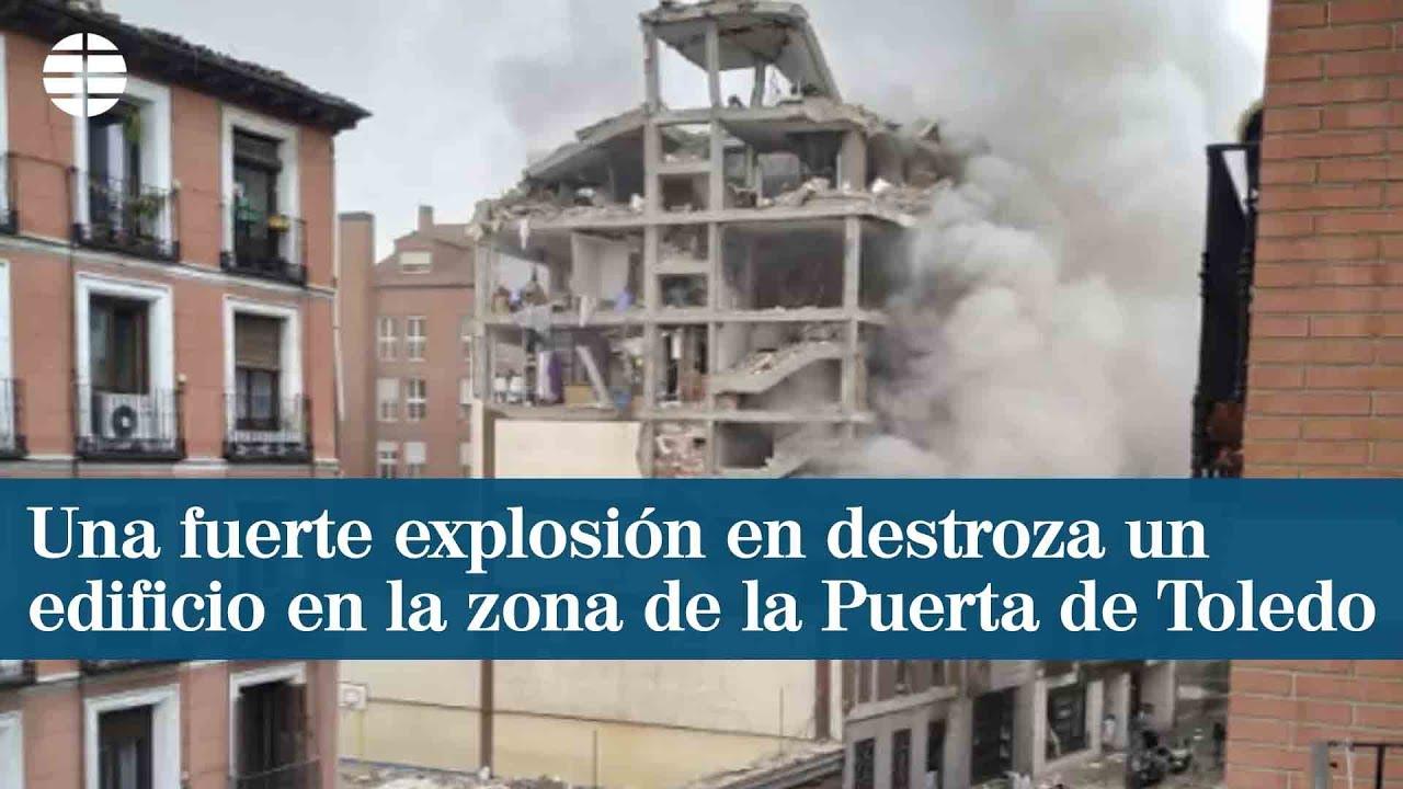 Una fuerte explosión destruye un edificio en Madrid