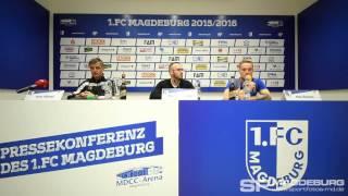 Pressekonferenz vor dem Spiel - 1. FC Magdeburg gegen SV Wehen Wiesbaden - www.sportfotos-md.de
