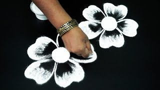 Ancient Kolam art designs freehand   Cute flower kolam designs   muggulu for beginners