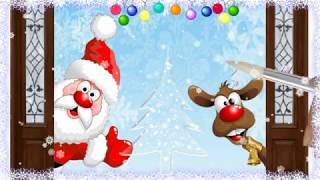 Футаж. Дед Мороз и олень. Рисованное видео. Анимация