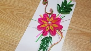 Quilling art design creation  for greeting card
