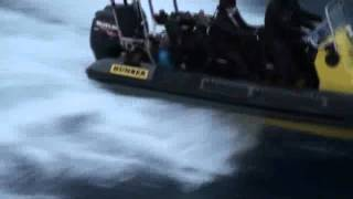Sea Shepherd activists fire a butyric acid projectile launcher toward the Yushin Maru No.2