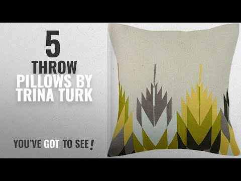 Top 10 Trina Turk Throw Pillows [2018]: Trina Turk Cypress Embroidered pillow, 20x20 Inch , Yellow