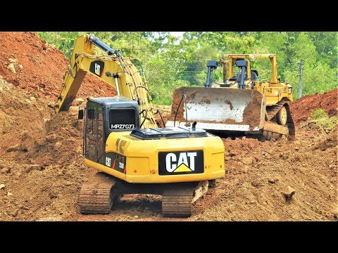 Construction Equipment Excavator Bulldozer Working Building New Road