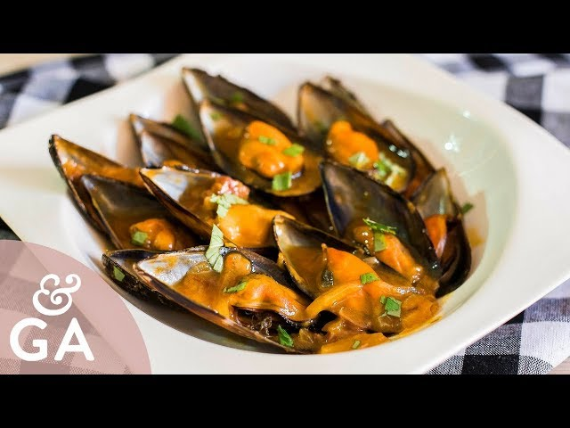 Receta sencilla y rápida de Mejillones a la marinera con jamón y curry