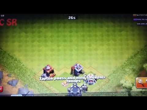 Clash of clan.Max golem vs 99999 spring trap