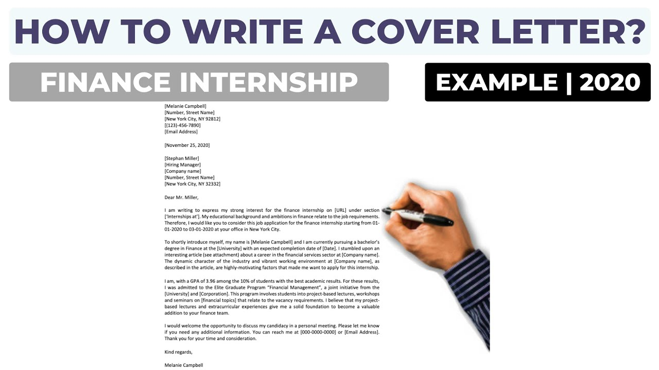 How To Write A Cover Letter For A Finance Internship Application Letter Example Youtube