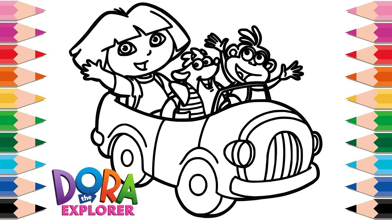 How To Draw Dora And Friends Coloring Pages For Kids Drawing Learn Colors Children