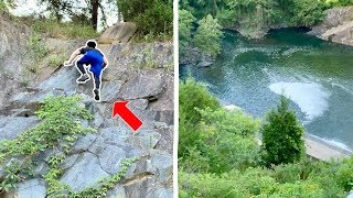 Climbing a ROCK WALL to Reach HIDDEN Fishing Spot!!! (EPIC ADVENTURE)