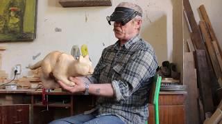 Резьба по дереву кошка.Wood Carving