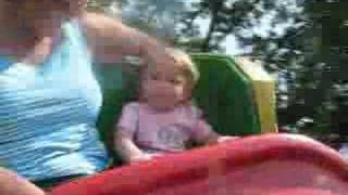 Chloe rides the Roller Skater Rollercoaster at KY Kingdom