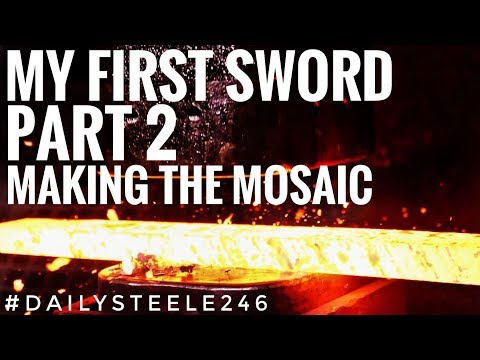 MAKING MY FIRST SWORD: Part 2 | Making the Damascus MOSAIC  *SO EASY TO MESS UP*