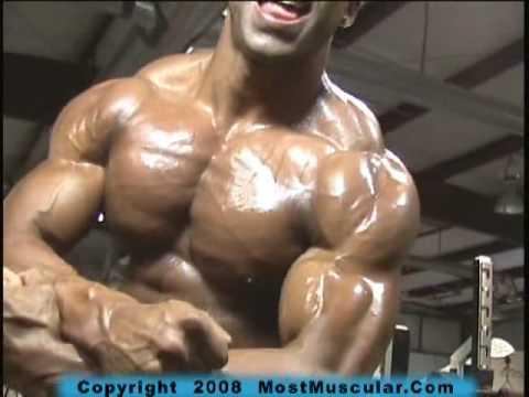 Bodybuilder Brent Kutlesa poses upper body