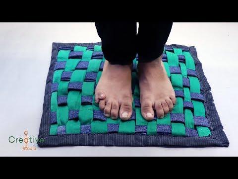 पुराने कपड़े से पायदान या चटाई बनाये | Old cloth Check Pattern Doormat