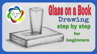 How to draw glass on a Book step by step||Glass on a Book|| पुस्तक पर गिलास|| srk arts|| srkarts||