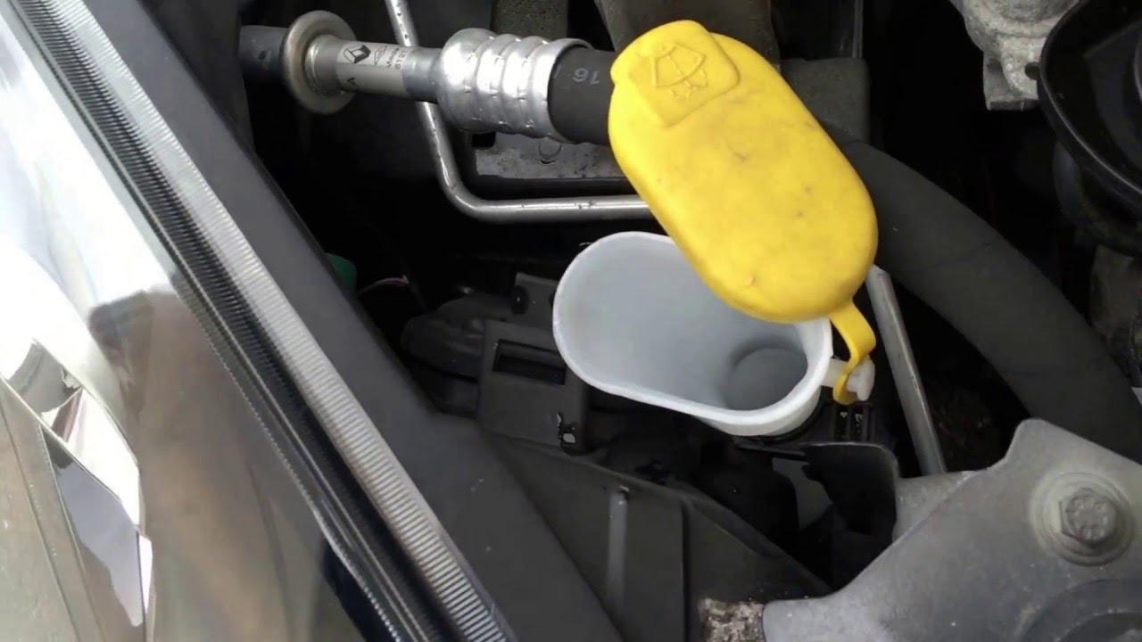 Water In Gas Tank >> How to refill wiper fluid screen wash water Renault Twingo ...
