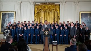 The President Presents the Commander-In-Chief's Trophy to the U.S. Air Force Academy