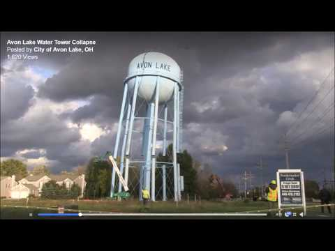 Avon Lake Water Tower Taken Down View 2 (Video not done by me).