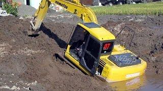 Komatsu PC130 Excavator Stuck In Mud