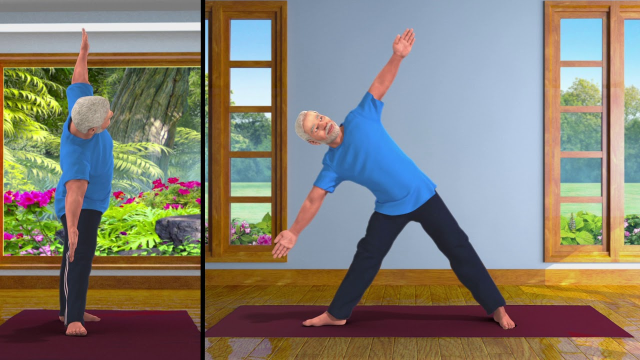 Yoga with Modi: Trikonasana Hindi