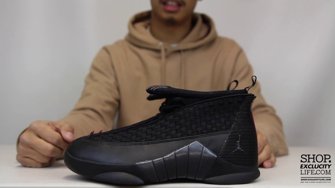 33092736a6f509 Air Jordan 15 Retro OG Black - Varsity Red Unboxing Video at Exclucity