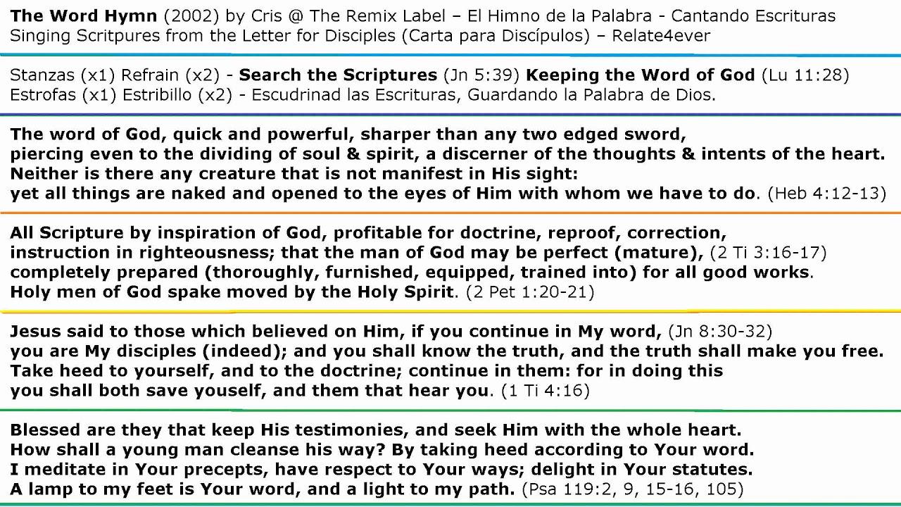 The Word Hymn By Cris Singing Scriptures