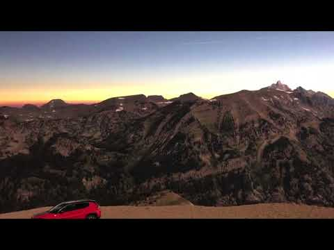Mountains over Jackson Hole, Wyoming go dark during eclipse