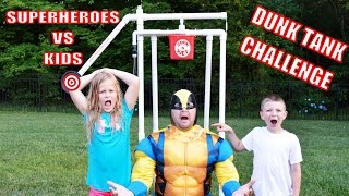 Little Heroes DUNK TANK CHALLENGE In Real Life Superheroes vs Kids Funny Kids Video