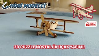 3D Puzzle Nostaljik Uçak - Çocukların Yeni Sağlıklı ve Eğitici Eğlencesi - #EVDEKAL