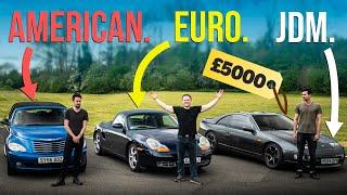 homepage tile video photo for £5000 American Vs Euro Vs JDM Sports Car Challenge