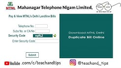 MTNL Delhi Duplicate Bill Copy Download 2017!