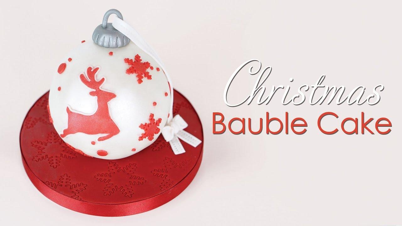 Christmas Reindeer Bauble Ornament Cake Tutorial - YouTube