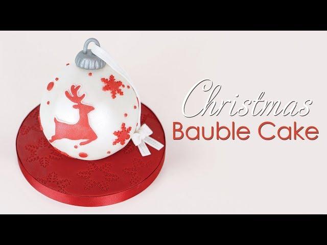 Christmas Reindeer Bauble Ornament Cake Tutorial