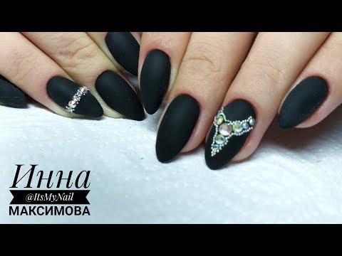 Нарощенные острые черные ногти