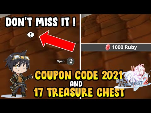 COUPON CODE 2021! HIDDEN TREASURE CHEST YANG ISINYA RUBY & GOLD – Epic Conquest 2 Android Gameplay
