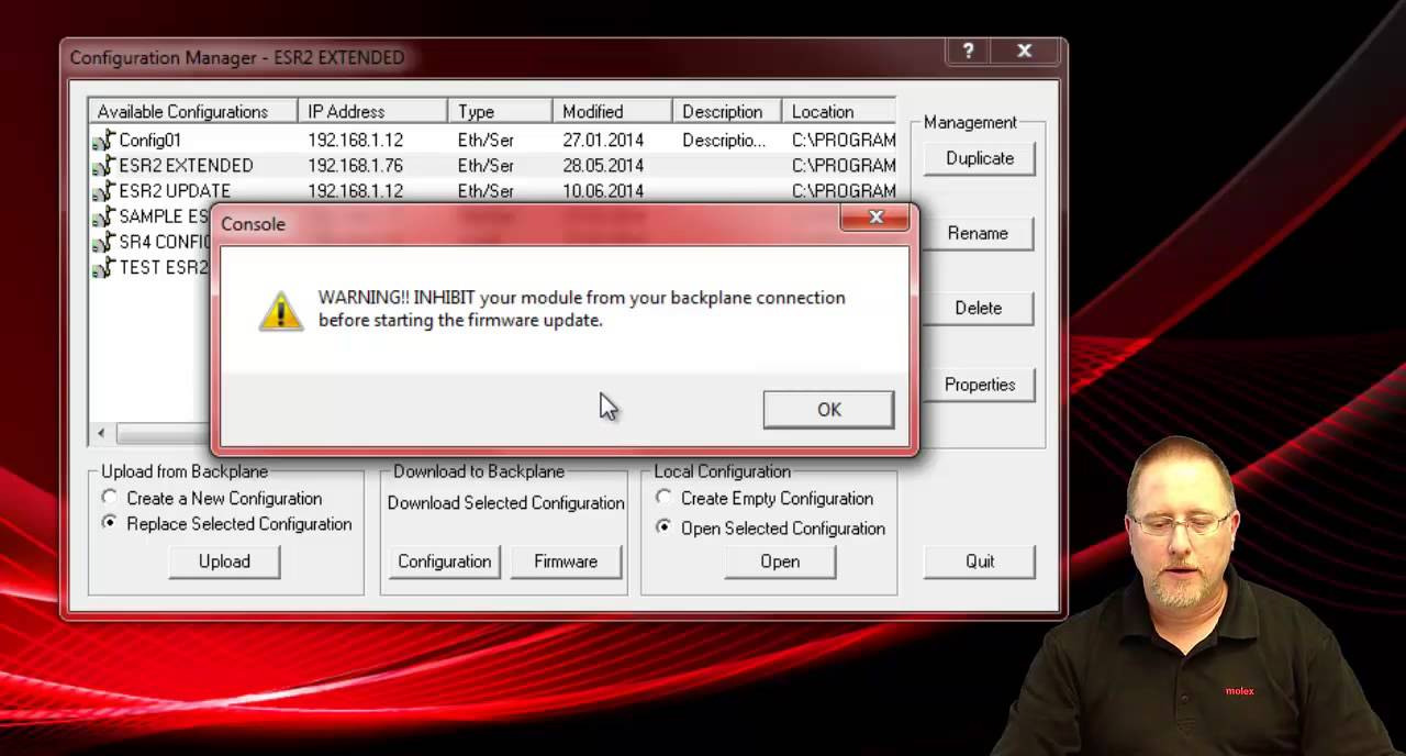 Molex - SST-ESR2/SR4-CLX-RLL Firmware Update