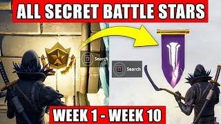 ALL Fortnite Secret Battle Stars & banners Locations week 1 to 10 - Season 7