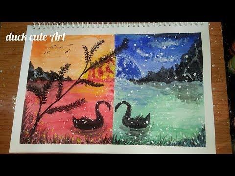 """Vẽ tranh phong cảnh""""thiên nga đen""""bằng màu Thiên Long.Landscape painting with watercolor""""black swan"""""""