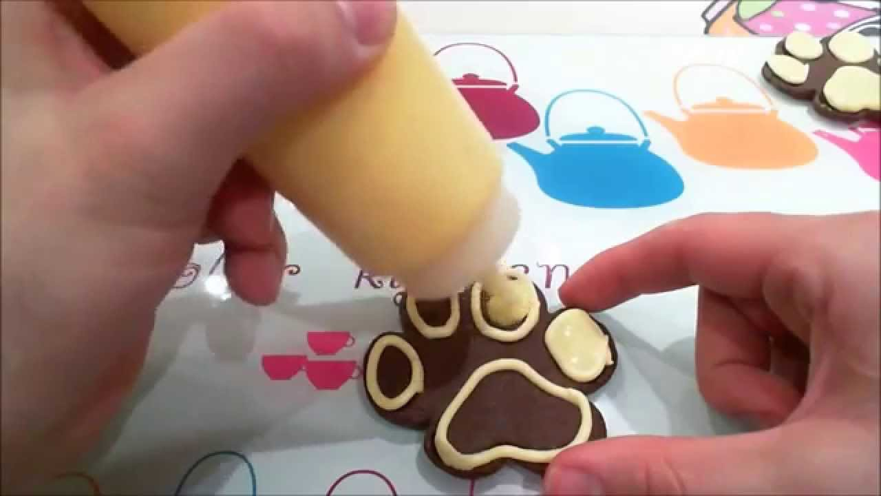 Galletas huellas de perro. Decoración básica con glasa - YouTube