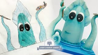 We turn your drawing into a cake! Bubbles the squid cake tutorial