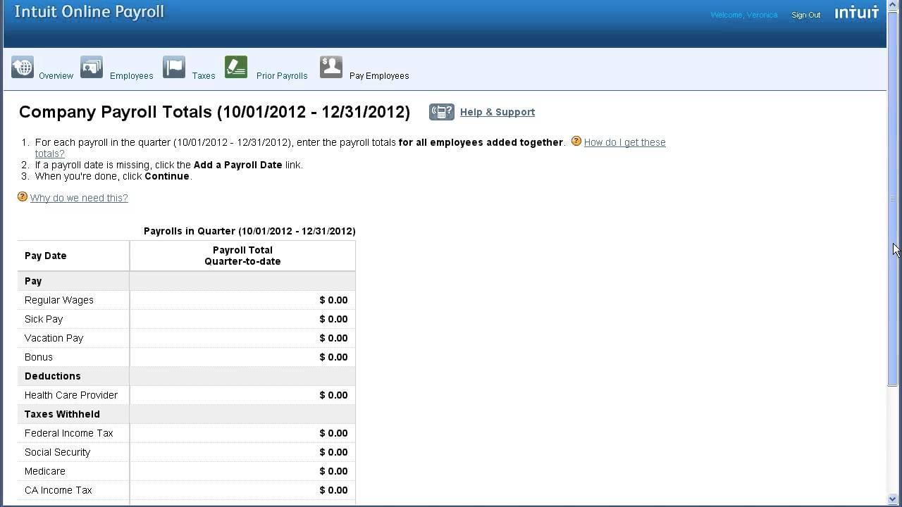 intuit online payroll setup prior payrolls youtube