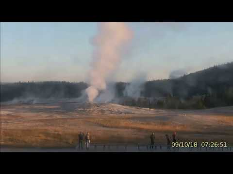 Wow! Dawn @Yellowstone Massive Steaming & Large Geyser! 9/10/2018