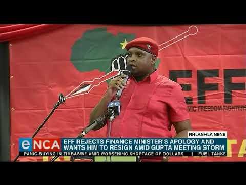 EFF rejects Finance Minister Nhlanhla Nene's apology