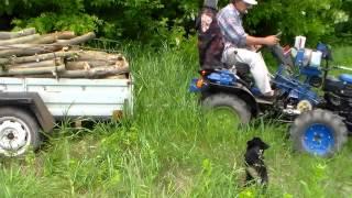 Минитрактор. Вывоз дров по бездорожью