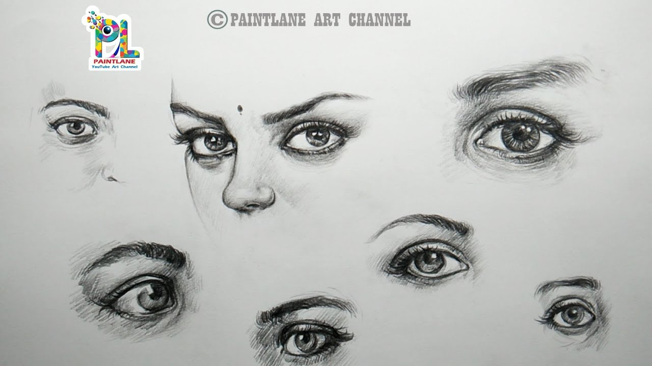How to draw and shade eyes with easy and simple pencil strokes step by step