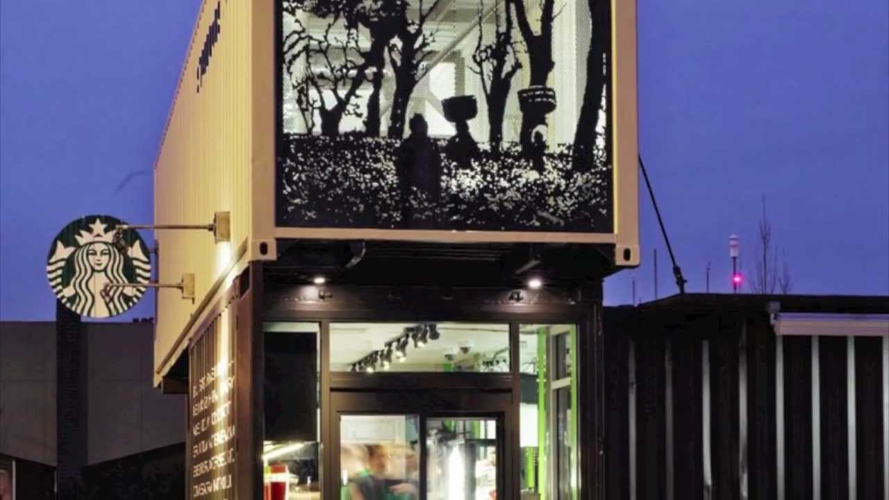Shipping Container House >> Starbucks Shipping Container Building Drive Thru Store Architecture - YouTube