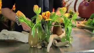 Parrot Tulips and Bear Grass Arranged by Pieter Landman